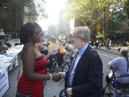At the Night Out Against Crime event at Fulton Houses in Chelsea on August 5, 2014.