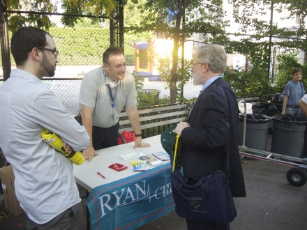 With the Ryan Community Health Network table at the Night Out Against Crime event in Hell's Kitchen Park on August 5, 2014.