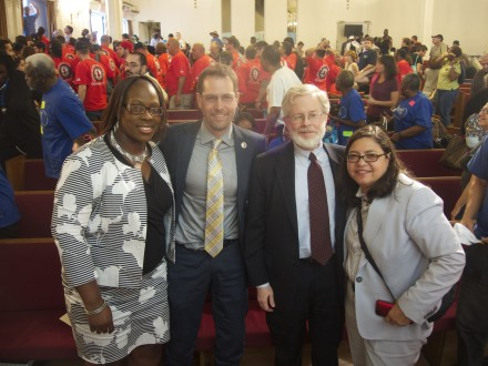 With New York City Council Members Vanessa Gibson, Mark Levine, and Rosie Mendez.