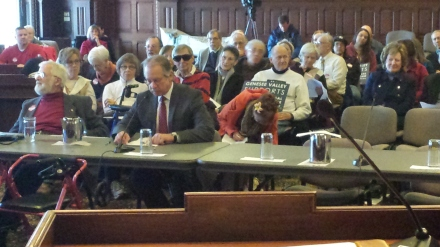 Lieutenant Gary Pudup testifying at the hearing in Rochester on the Affordable Care Act.