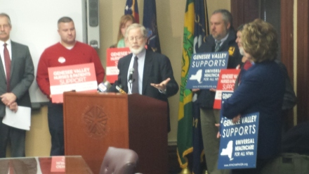 At the press conference before today's hearing in Rochester on the New York Health Act.