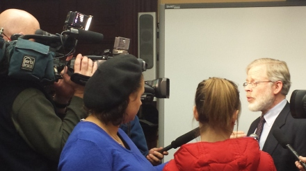 Speaking with reporters At the press conference before the hearing in Rochester on the New York Health Act.