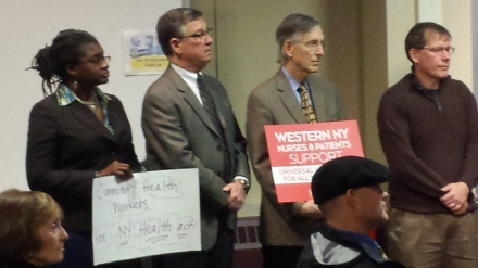Supporters of universal healthcare at the press conference before today's hearing in Buffalo on the New York Health Act.