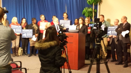Jessica Bauer Walker, Executive Director of the Community Health Worker Network of Buffalo, at the press conference before today's hearing on theNew York Health Act.