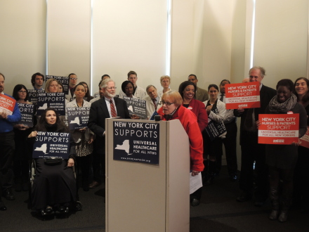 Anne Bové, RN, a nurse at Bellevue Hospital Center and Secretary of the New York State Nurses Association (NYSNA), represented NYSNA  at the press and conference and testified on behalf of the New Health Act at the hearing.