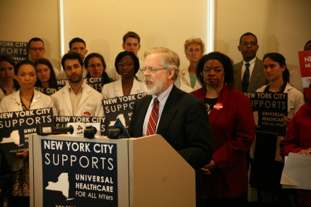 Speaking at the news conference before the Assembly Health Committee hearing in Manhattan on the New York Health Act.