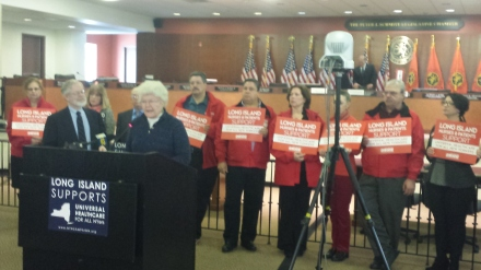 Before the Assembly Health Committee hearing on Long Island on the New York Health Act began,  Long Islanders supporting publicly funded universal health care spoke at a press conference. Here, Mary Dewar of the Long Island Council of Churches expresses her support for the bill.