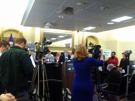 The news conference and hearing on the New York Health Act in Syracuse attracted considerable media coverage.