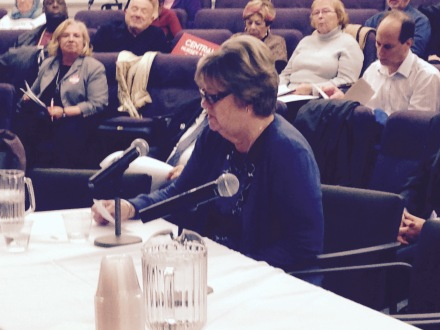 A resident of Central New York testifying in support of the New York Health Act at the Assembly Health Committee hearing in Syracuse.