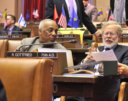At work in the Chamber, with Assm. Charles Barron (credit: Assembly Photography)