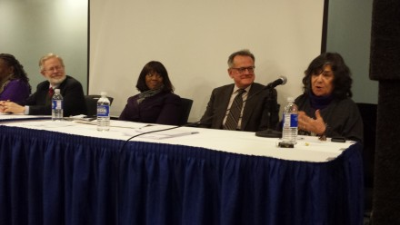 (L-R): Assm. Richard N. Gottfried; Cynthia Lewis, NYS Nurses Association; Fred Hyde, MD, Columbia University Mailman School of Public Health; Judy Wessler, former Director, Commission on the Public's Health System