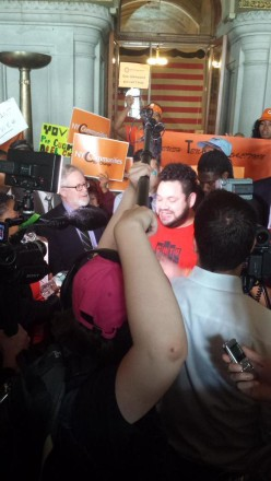 Tenants meet the press and call for stronger rent laws!  (Credit: A/M Gottfried's office)