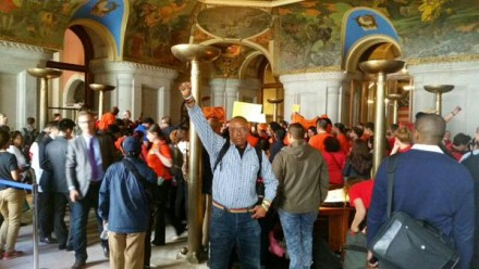 Reginald Brown from VOCAL-NY stands for stronger rent laws in the War Room at the Capitol.  (Credit: VOCAL-NY)